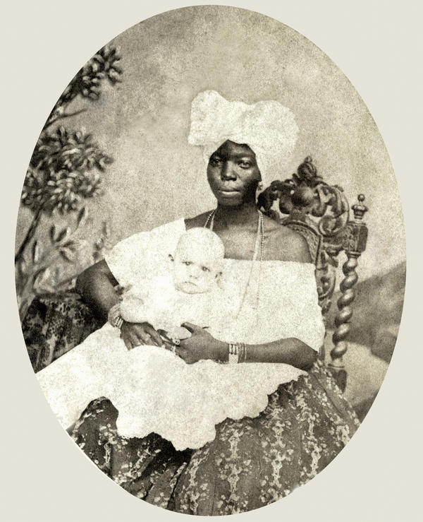 A nanny with child, photographed in 1870 in Salvador de Bahia.