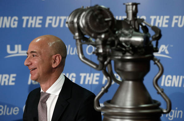 Jeff Bezos, the founder of Blue Origin and Amazon.com, appears at a press conference to announce the new BE-4 rocket engine with Tory Bruno, CEO of United Launch Alliance, at the National Press Club September 17, 2014 in Washington, D.C. (Win McNamee/Getty Images)