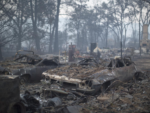 Cars and homes in Middletown, Calif., lay charred by the Valley Fire, which was 15 percent contained as of Tuesday afternoon.