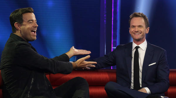 Carson Daly jokes with host Neal Patrick Harris during last night's premiere episode of NBC's <em>Best Time Ever with Neil Patrick Harris.</em>