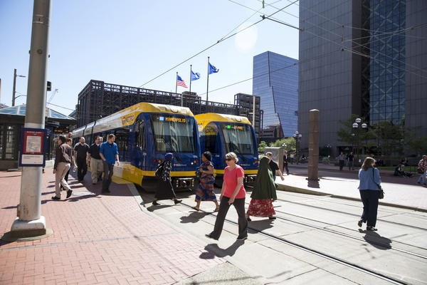 The light rail runs through downtown Minneapolis in September.
