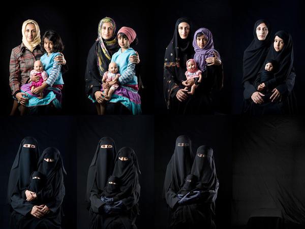 "Sultan Sooud Al-Qassemi says, ""I don't buy artworks that I think are pretty ... I buy art that is politically meaningful."" That art includes Yemeni photographer Boushra Al Mutawakel's <em>Mother, Daughter, Doll</em> series."