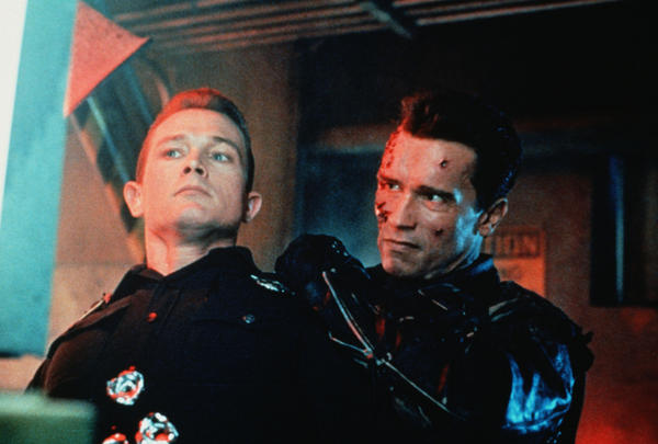 Robert Patrick (left) and Arnold Schwarzenegger in <em>Terminator 2: Judgement Day</em>.