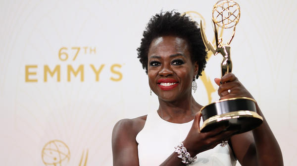Viola Davis poses with her Emmy on Sunday night.