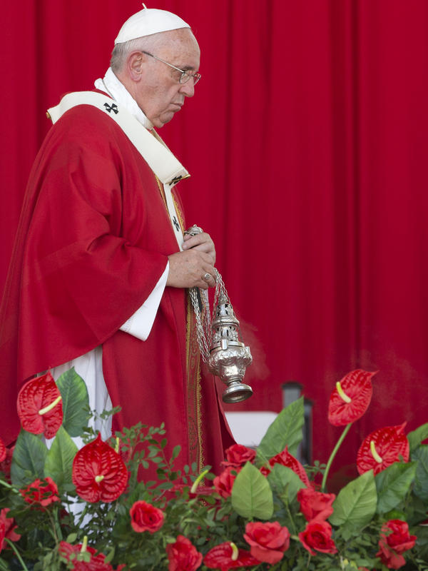 Pope Francis celebrates mass in Cuba's Revolution Square Monday. In his homily, Francis called on Cubans to heed Jesus Christ's invitation to overcome resistance to change.