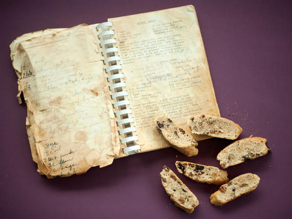 After his mother-in-law's death, NPR's Marc Silver found her go-to cookbook, filled with her copious annotations to recipes. He used it to piece together her take on mandelbread, a Jewish version of biscotti, and other holiday favorites.
