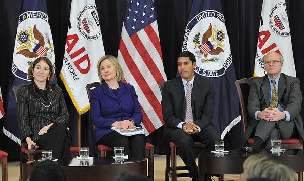 Anne-Marie Slaughter (left) former director of policy planning, sits with Secretary of State Hillary Clinton and fellow State Department employees, USAID Administrator Rajiv Shah and USAID Deputy Administrator Donald Steinberg, far right, in 2010.