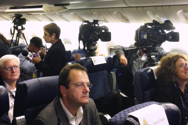 Reporters asked the pope about clergy sex abuse, peace in Colombia, his impressions of the U.S. and other issues on Sunday's flight back to Rome.
