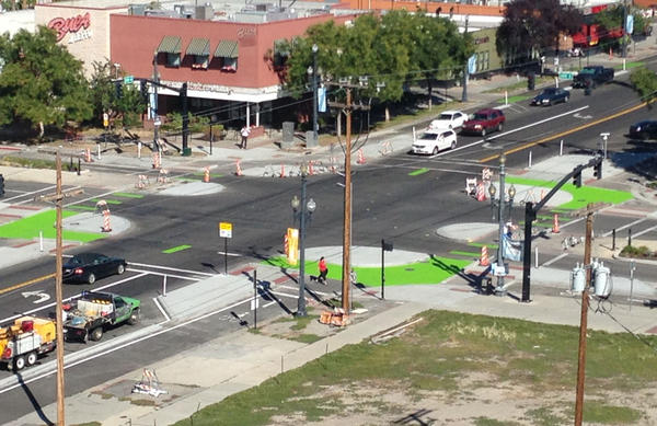 Salt Lake City's new protected intersection is pictured in this aerial photo. (Courtesy of Salt Lake City's Transportation Division)