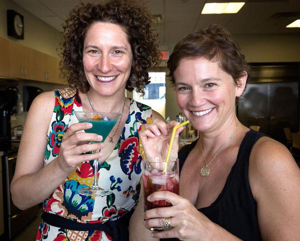 "Michelle Ephraim (left) and Caroline Bicks are the authors of ""Shakespeare, Not Stirred."" (Robin Lubbock/WBUR)"