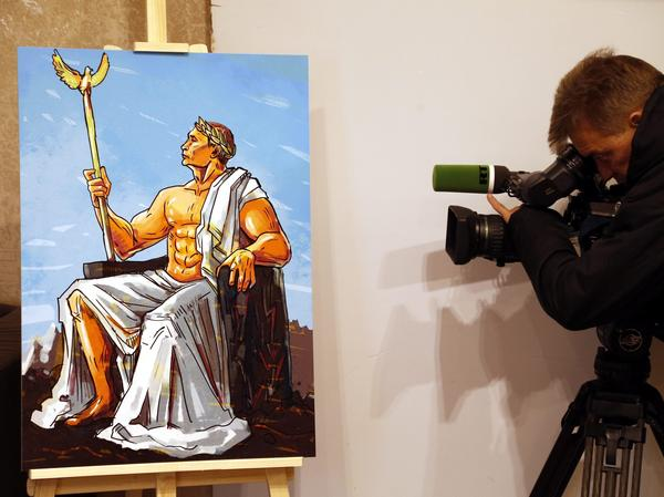 """At Moscow's """"Putin Universe"""" exhibition, a painting depicted the Russian president as Jupiter, god of the skies."""