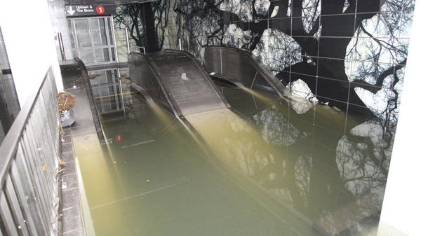 Superstorm Sandy flooded escalators to the South Ferry subway station in Manhattan in October 2012.