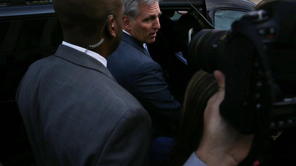 House Majority Leader Rep. Kevin McCarthy, R-Calif., leaves after a closed House Republican election meeting to pick the next GOP House speaker nominee on Thursday in Washington, D.C.