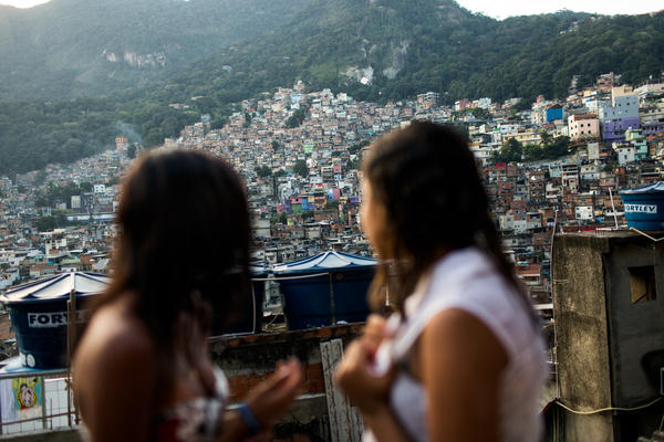 What's up on the roof: Milena and Lala hang out on the rooftop of Milena's house in the Rocinha <em>favela.</em>