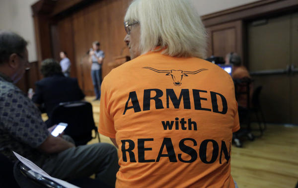 Professor Ann Cvetkovich waits to speak during a public forum, Sept. 30, 2015, as a special committee studies how to implement a new law allowing students with concealed weapons permits to carry firearms into class and other campus buildings, which will take effect in August 2016, in Austin, Texas. Despite a federal law requiring them to have detailed emergency plans, colleges across the country vary widely in how they prepare for campus shootings and inform their staffs and students. (Eric Gay/AP)