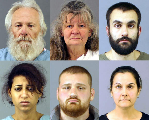 (Clockwise from top left) Bruce Leonard, Deborah Leonard, David Morey, Linda Morey, Joseph Irwin, and Sarah Ferguson have been charged with first-degree manslaughter in the beating death of 19-year-old Lucas Leonard.