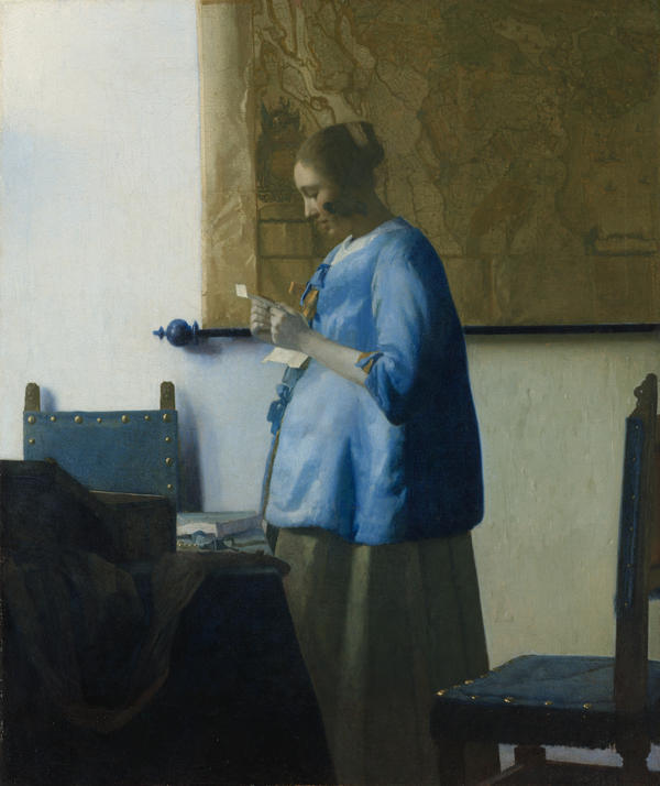 Vermeer's 1663 work, <em>Woman in Blue Reading a Letter, </em>is back on display at the National Gallery after its first visit 20 years ago.