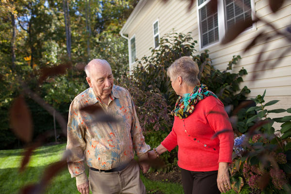 Alan Hoffman, shown with his wife, Nancy, at their home in Dumfries, Va., found that his Parkinson's symptoms improved when he took a cancer drug.