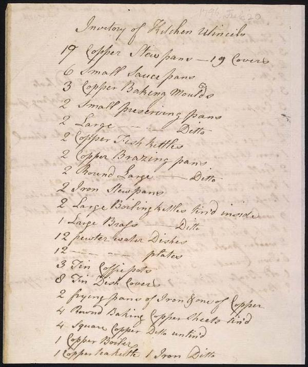 After gaining his freedom, but before leaving Monticello, James Hemings penned this exhaustive catalog of the tools in the kitchen he had run for years.