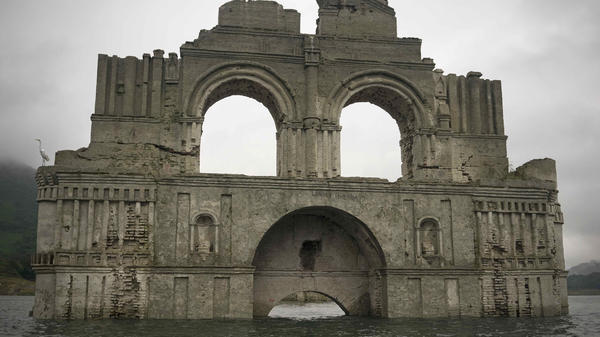 The remains of a mid-16th century church, visible from the surface of the Grijalva River in the Mexican state of Chiapas, because a drought has lowered the water level.