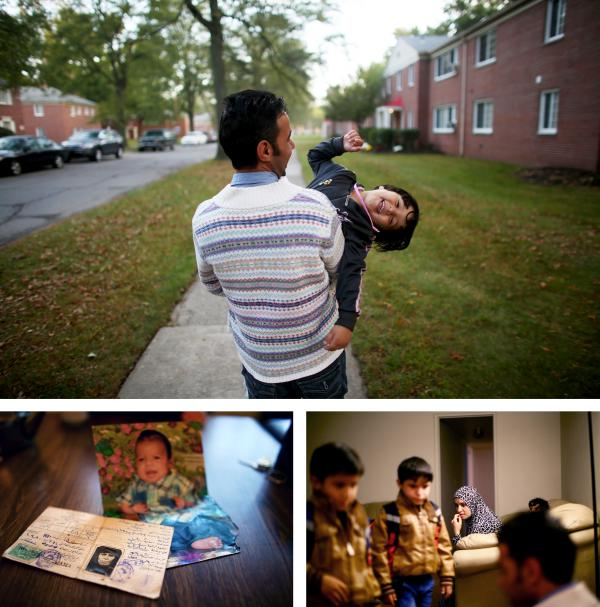 Top: Omar Al-Awad holds his daughter Taiba, 4, as they walk to their home in Toledo, Ohio, where they were recently resettled after fleeing Syria and living in a Jordanian refugee camp for two years. Left: The only possessions Omar brought from Syria were baby photos and his grandmother's identification card. Right: Omar's wife, Hiyam, watches as the family of five gets ready for school.