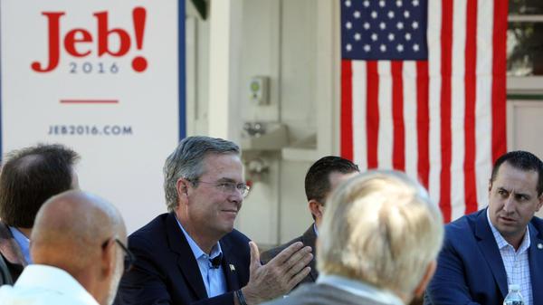 Republican presidential candidate Jeb Bush speaks at Rancho San Raffle Park in Reno, Nev.