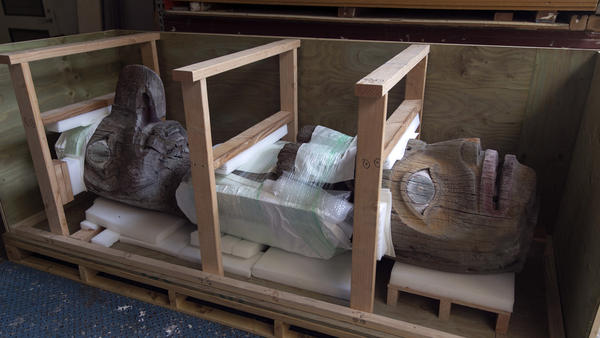The totem pole carved by the Alaskan Tlingit tribe is boxed up at the Honolulu Museum of Art on Thursday in Honolulu.