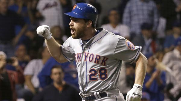 The New York Mets' Daniel Murphy celebrates after hitting a two-run home run during the National League Championship series against the Chicago Cubs last week.