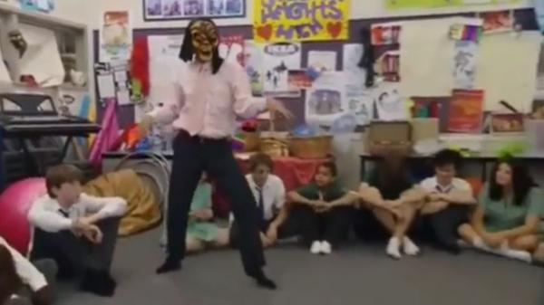 "Chris Lilley performs a dance as Mr. G, in a video that was set to the Drake hit ""Hotline Bling."""