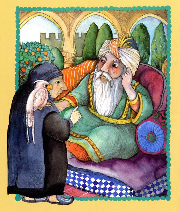 In <em>The Happy Man's Tunic</em>, an old woman (with a white parrot) helps save a caliph's son after he becomes seriously ill.