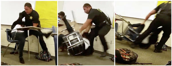 Senior Deputy Ben Fields is seen pulling a student from her chair at Spring Valley High School in Columbia, S.C., in these three images made from another student's video recording.