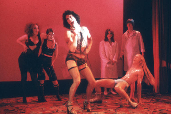 Tim Curry performs in a staging of <em>The </em><em>Rocky Horror Show</em> in the 1970s.