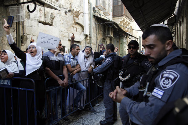 Israeli police stand guard as Palestinians protest in  Jerusalem's Old City on Sept. 17.