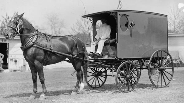 A horse and wagon, 1911.