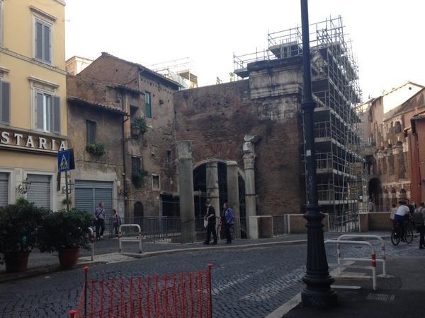 The ancient Roman Portico d'Ottavia.