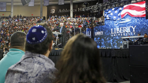 Bernie Sanders speaks at conservative Christian college Liberty University in September, on the Jewish holiday of Rosh Hashanah. He quietly joined an observance at a nearby home after the speech.