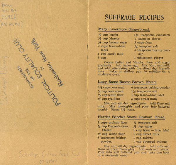 "Recipes from the <em>Woman Suffrage Cook Book,</em> including one for ""Graham Bread"" attributed to Harriet Beecher Stowe, the author of <em>Uncle Tom's Cabin.</em> Beecher Stowe's sister Isabella Beecher Hooker was a founder of the National Woman Suffrage Association."