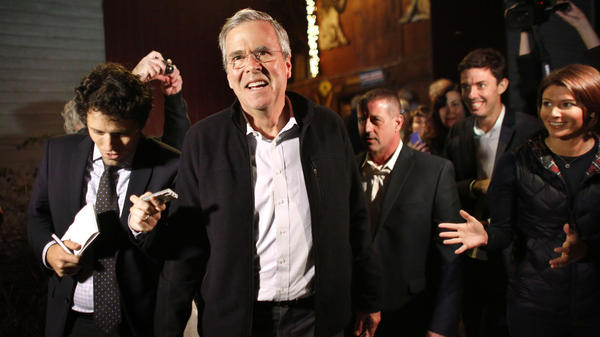 At a campaign event Tuesday in Rye, N.H., Jeb Bush seemed relaxed, confident, substantive — even enjoying himself.