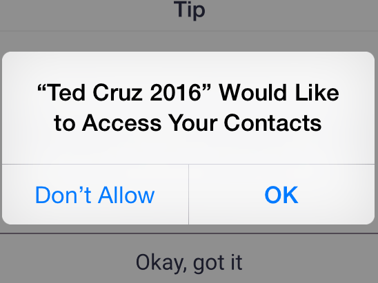 With permission, the Cruz campaign's app searches for potential supporters within users' phones