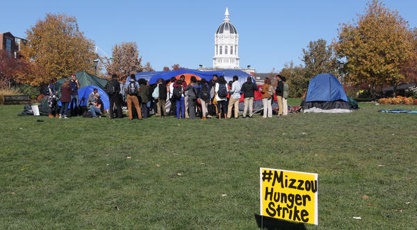 Students gather on the University of Missouri c&us on Saturday to show support for a student & READ: Two Personal Statements That Help Explain The Situation At ...