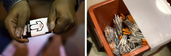 (Left) A Baltimore City health worker demonstrates how to use a naloxone auto-injector. (Right) Inside the needle exchange van, bundles of used needles are held in a container for disposal.