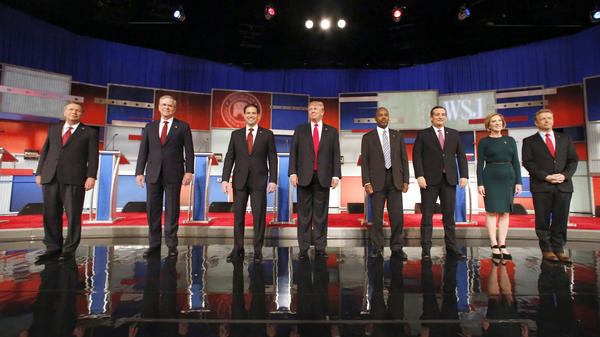 Candidates take the stage before the Republican presidential debate hosted by Fox Business News in Milwaukee on Tuesday.