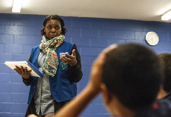 Yolanda Roberson, who directs the Empowerment program, teaches a class at a Boys and Girls Club in the Bronx. The classes are funded by the state of New York.