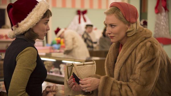 Rooney Mara and Cate Blanchett in a scene from <em>Carol</em>.
