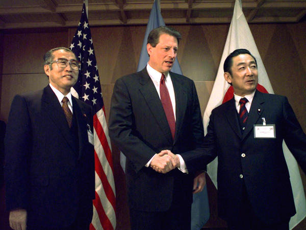 Al Gore (center) was U.S. vice president when he flew to Kyoto to join Japan's prime minister, Ryutaro Hashimoto (right) and foreign minister Keizo Obuchi (left) in trying to broker an international deal that would cut C02 emissions.