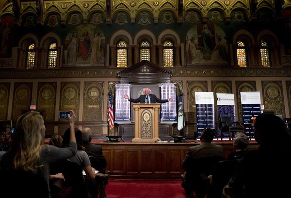 "Democratic presidential hopeful Bernie Sanders speaks about the meaning of ""democratic socialism"" Nov. 19 at Georgetown University in Washington."