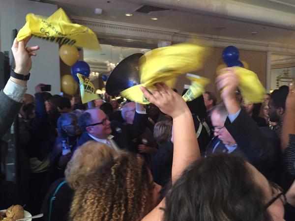 Supporters of Louisiana Gov.-elect John Bel Edwards celebrate his win.