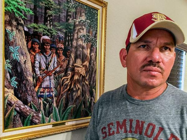 Bowers's house is a shrine to the Seminole warrior, Osecola, who is also the tribe-approved symbol of the Florida State University Seminoles football team. Here, Osceola is shown on a scouting mission. The late artist, Guy LaBree, was a favorite of the tribe.
