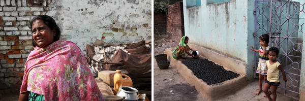 Rita Devi, 40, left, lives dangerously near coal fires in Boka Pahari village and says her son recently died of cancer. Her district suffers some of the highest incidence of chronic disease in the state. The government is evacuating residents but many fear losing their livelihoods. A woman, right, makes charcoal briquettes outside her home to sell as fuel for cooking and heating.