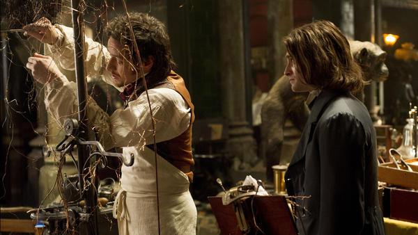 Victor (James McAvoy) and Igor (Daniel Radcliffe) in a scene from <em>Victor Frankenstein</em>.